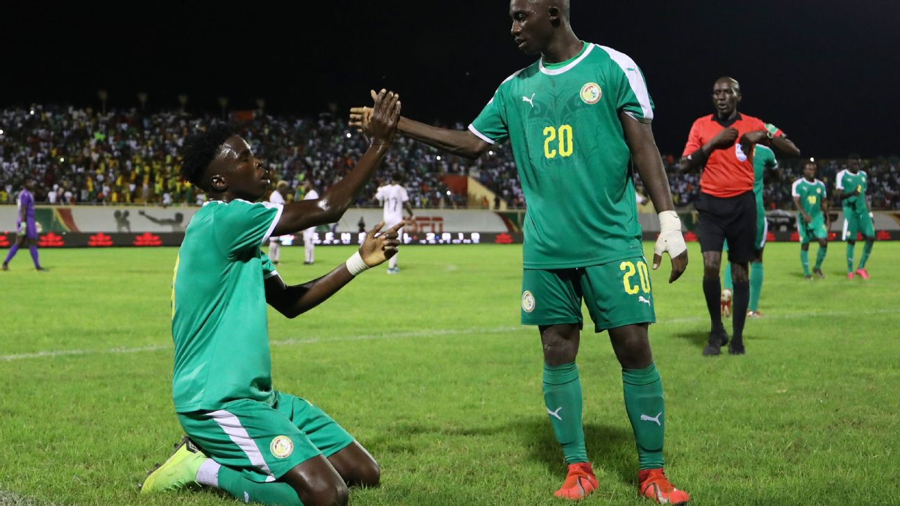 Youssouph Mamadou Badji of Senegal celebrates his goal in extratime of the 2019 WAFU Cup of Nations Cup final vs. Ghana at Stade Lat Dior, Thies.