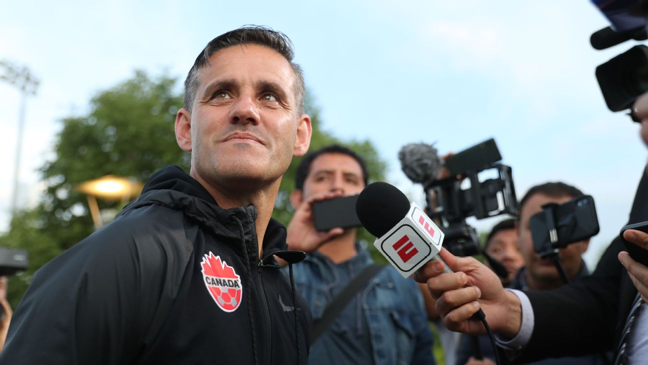 Canada manager John Herdman looks on before a Gold Cup match.