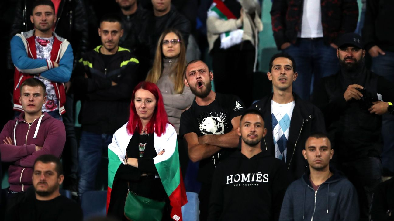 Bulgaria fans watch during their Euro 2020 qualifier against England.