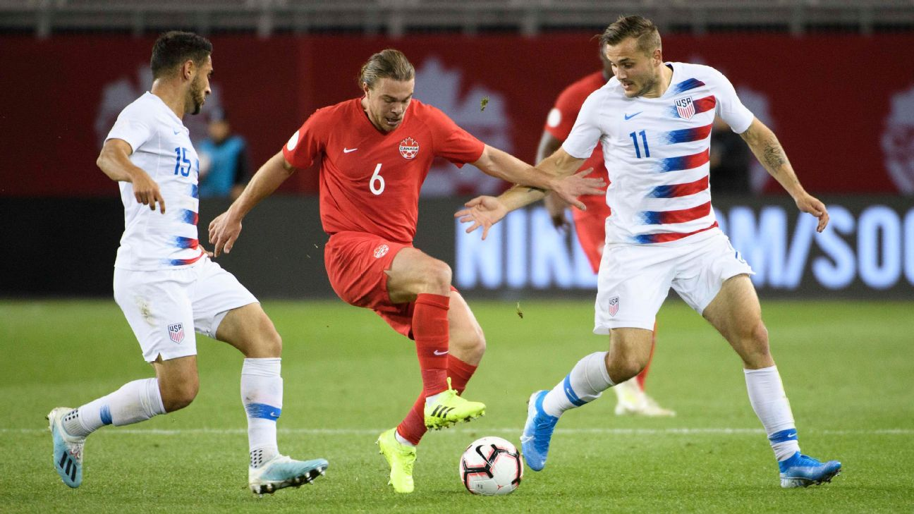 Canada midfielder Samuel Piette, center, dribbles the ball through two U.S. players.