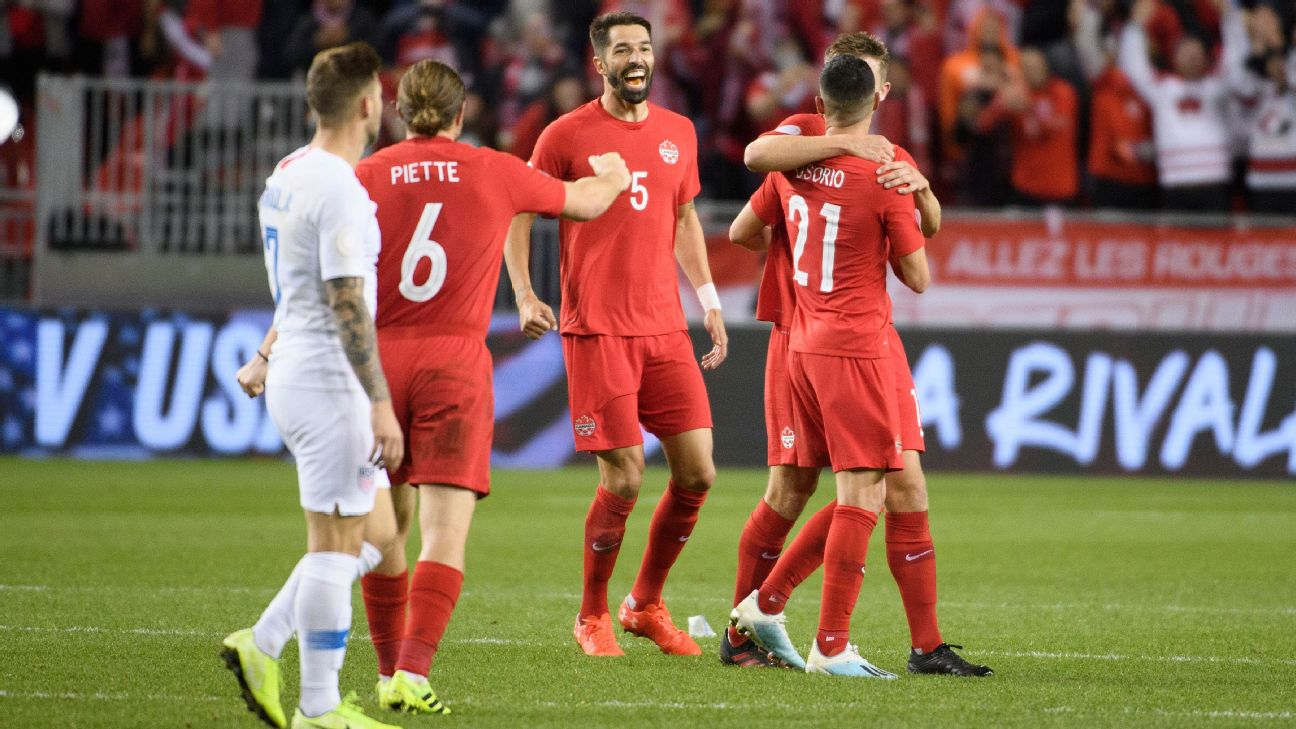 Canada players celebrate after scoring a goal against the U.S. in the CONCACAF Nations League.