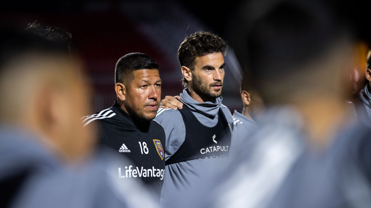 Nick Rimando and Kyle Beckerman look on during Real Salt Lake's preseason camp.