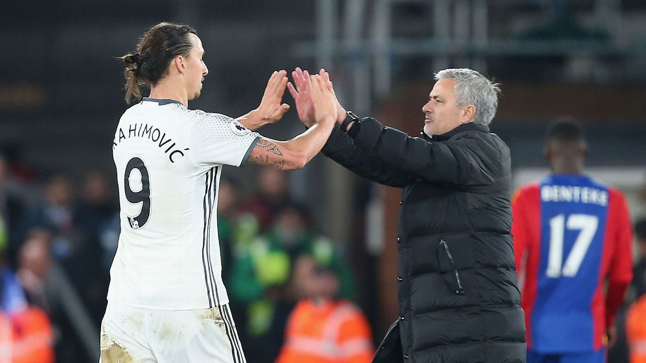 Zlatan Ibrahimovic and Jose Mourinho, Manchester United