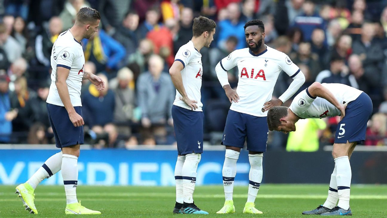 Toby Alderweireld, Harry Winks, Danny Rose and Jan Vertonghen look on during Tottenham's Premier League match against Watford.