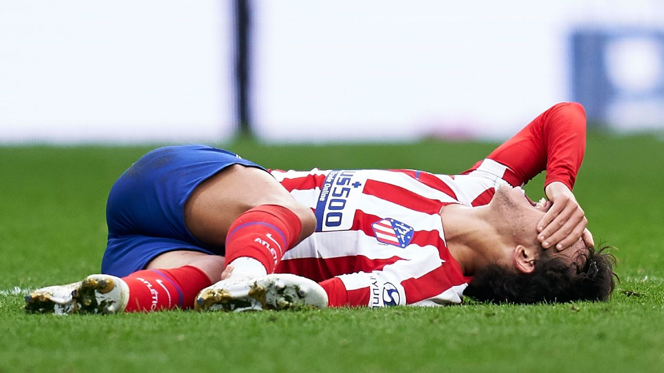 Joao Felix is injured during Atletico Madrid's La Liga draw against Valencia.