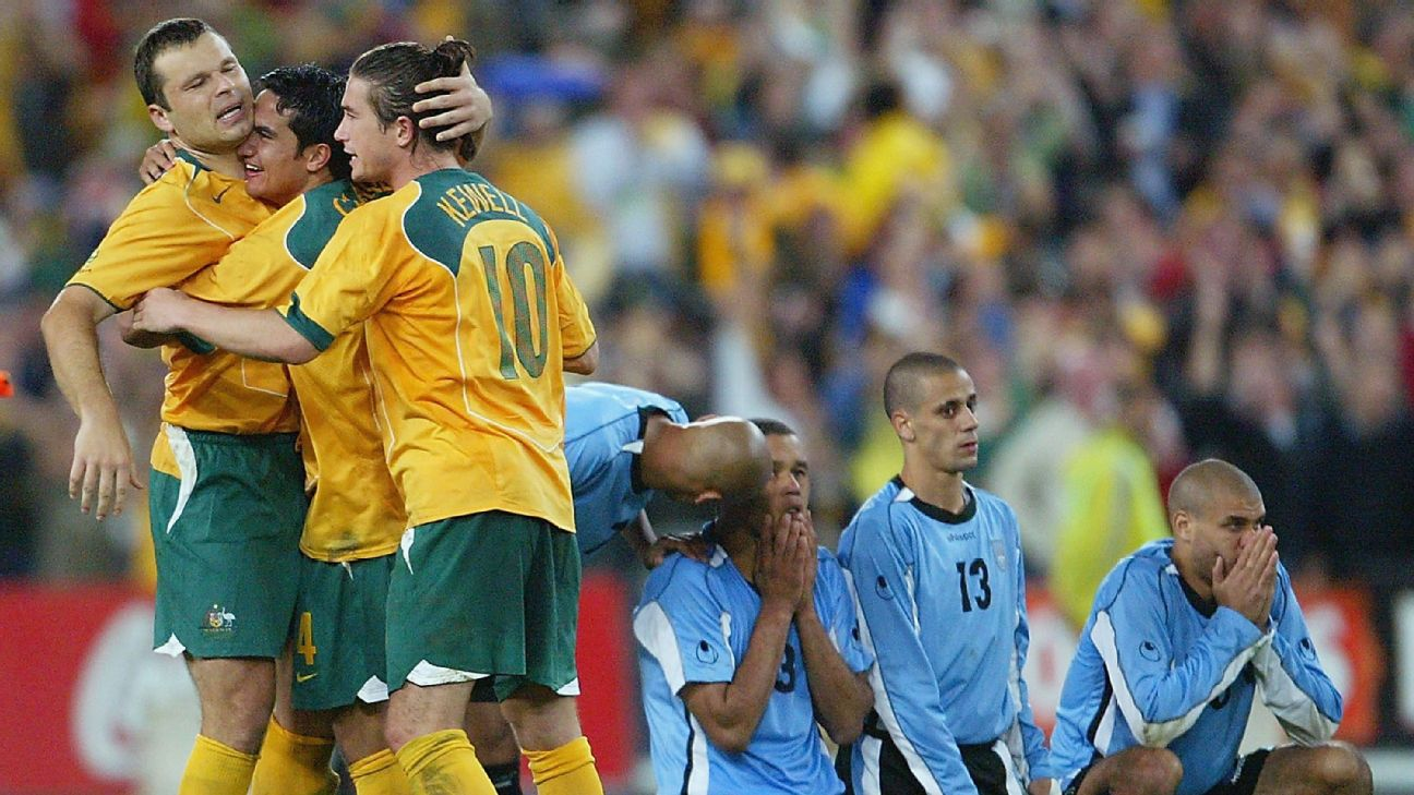 Mark Viduka, Tim Cahill and Harry Kewell