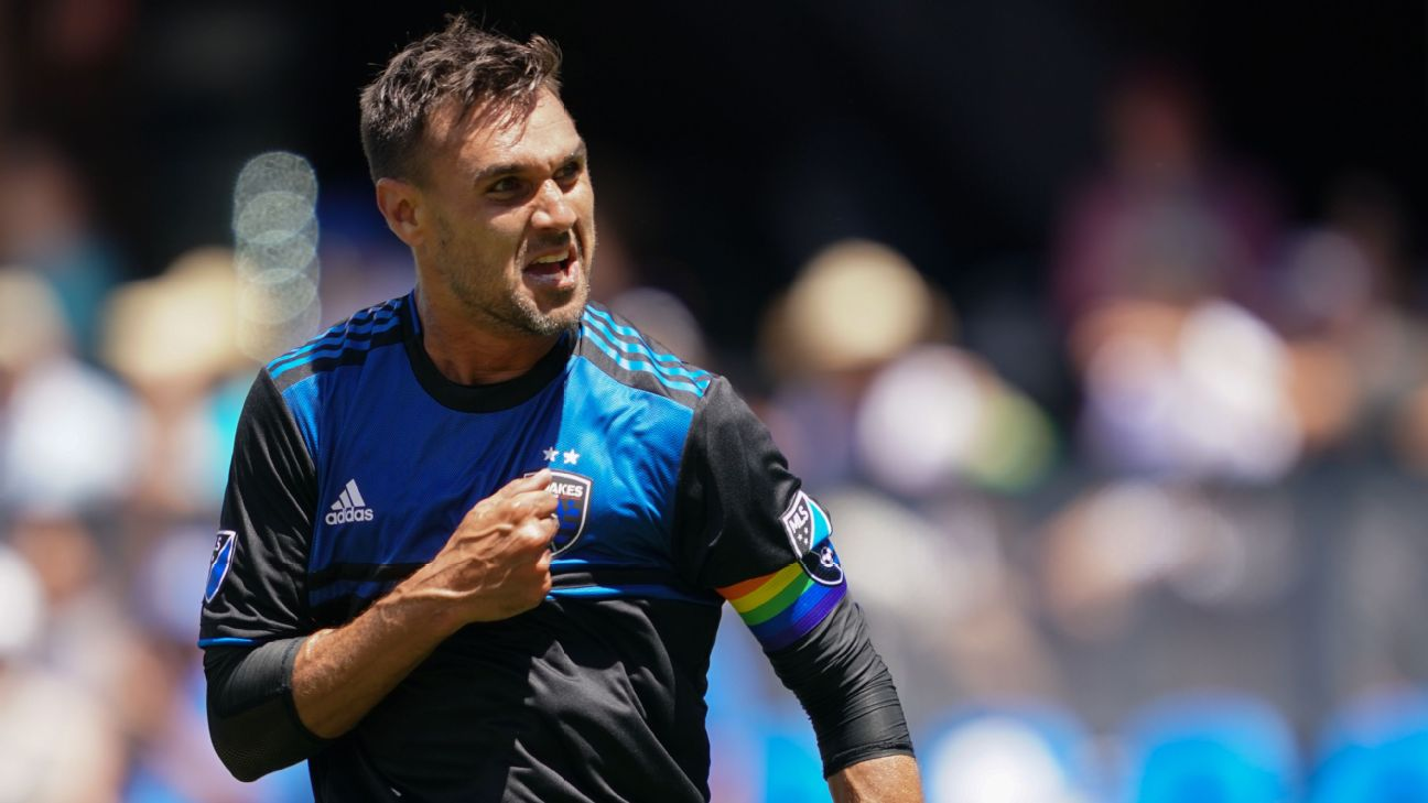 Chris Wondolowski celebrates during San Jose Earthquakes' MLS match against FC Dallas.