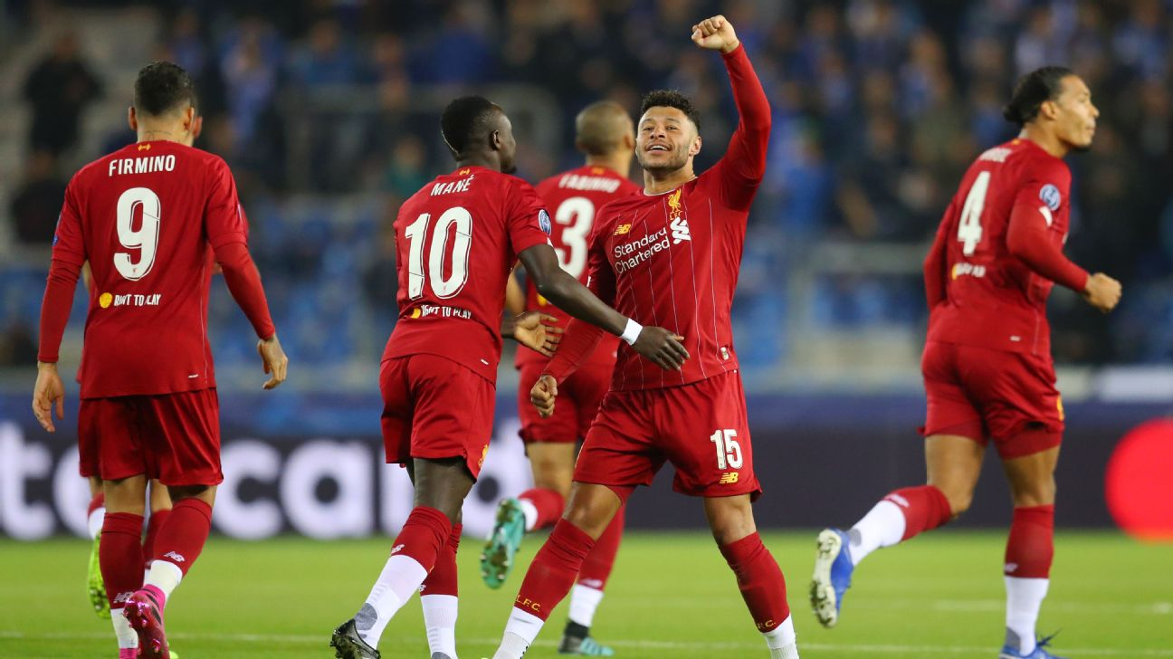 Alex Oxlade-Chamberlain celebrates after scoring during Liverpool's Champions League match against Genk.