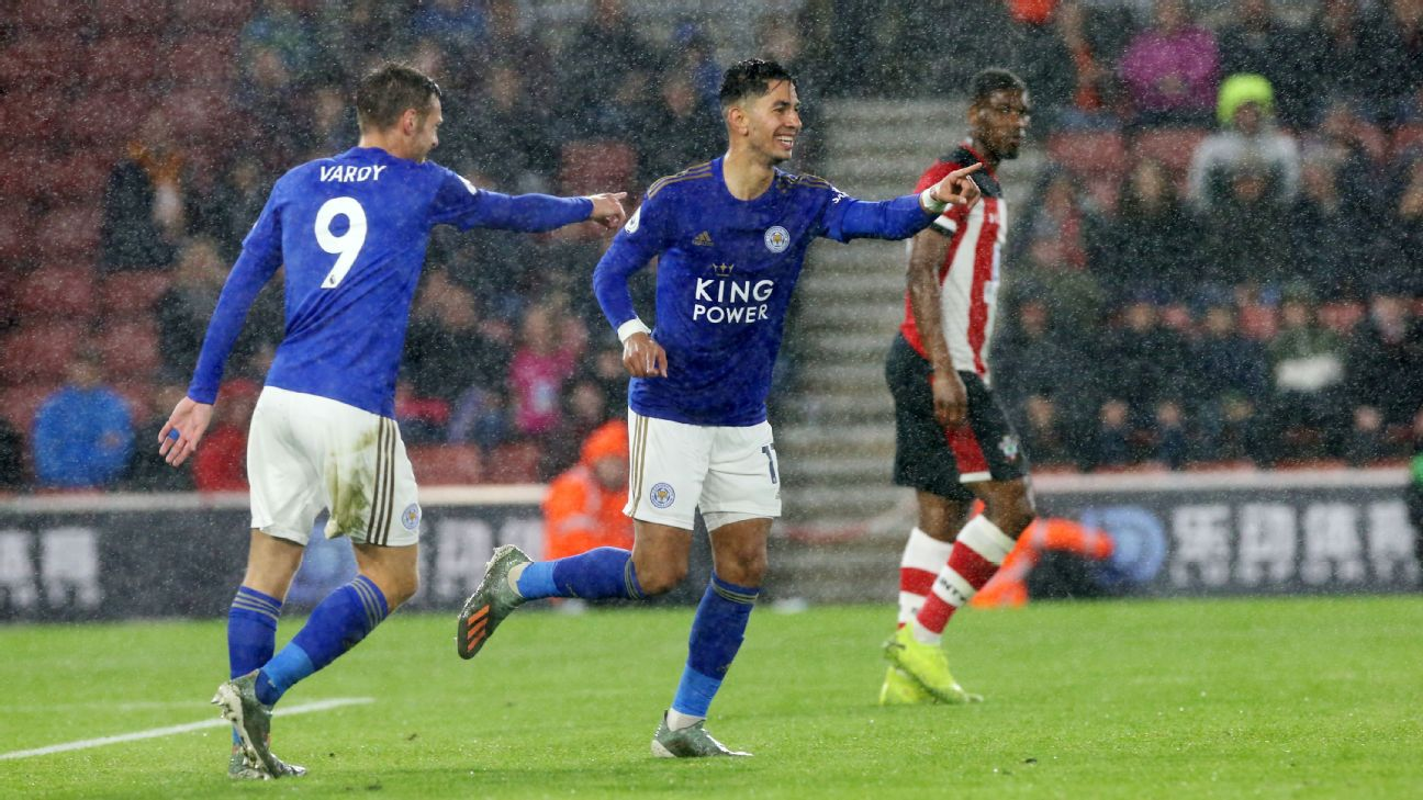 Ayoze Perez of Leicester City, right, celebrates with Jamie Vardy after scoring a goal against Southampton.