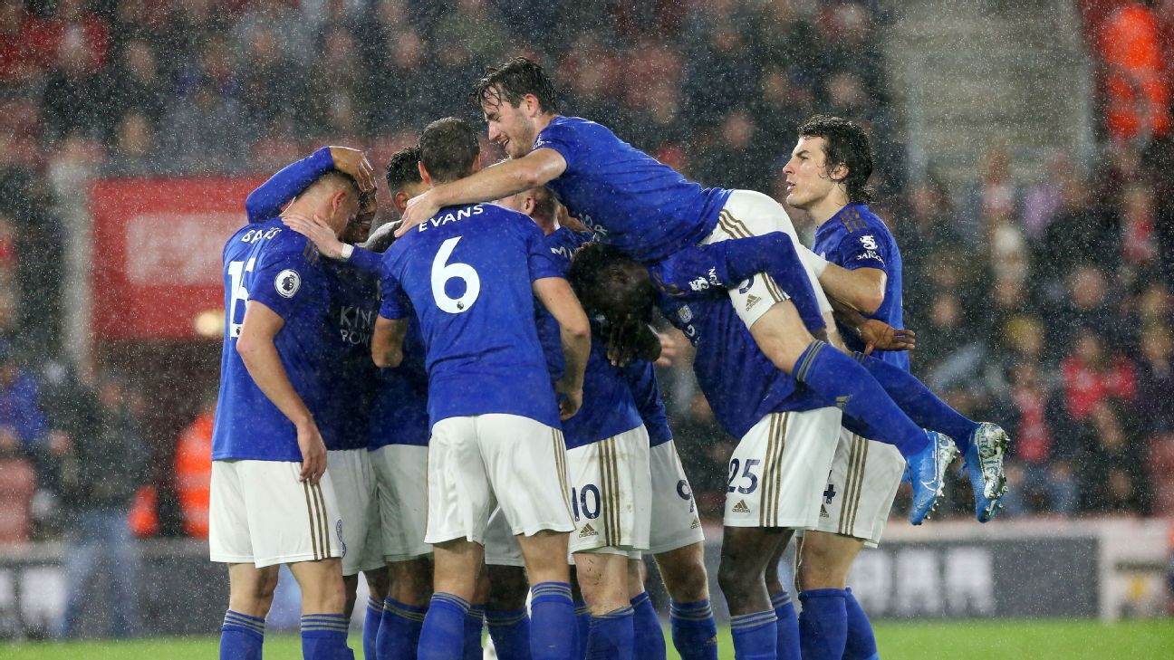 Leicester players celebrate after scoring a goal against Southampton in the Premier League.