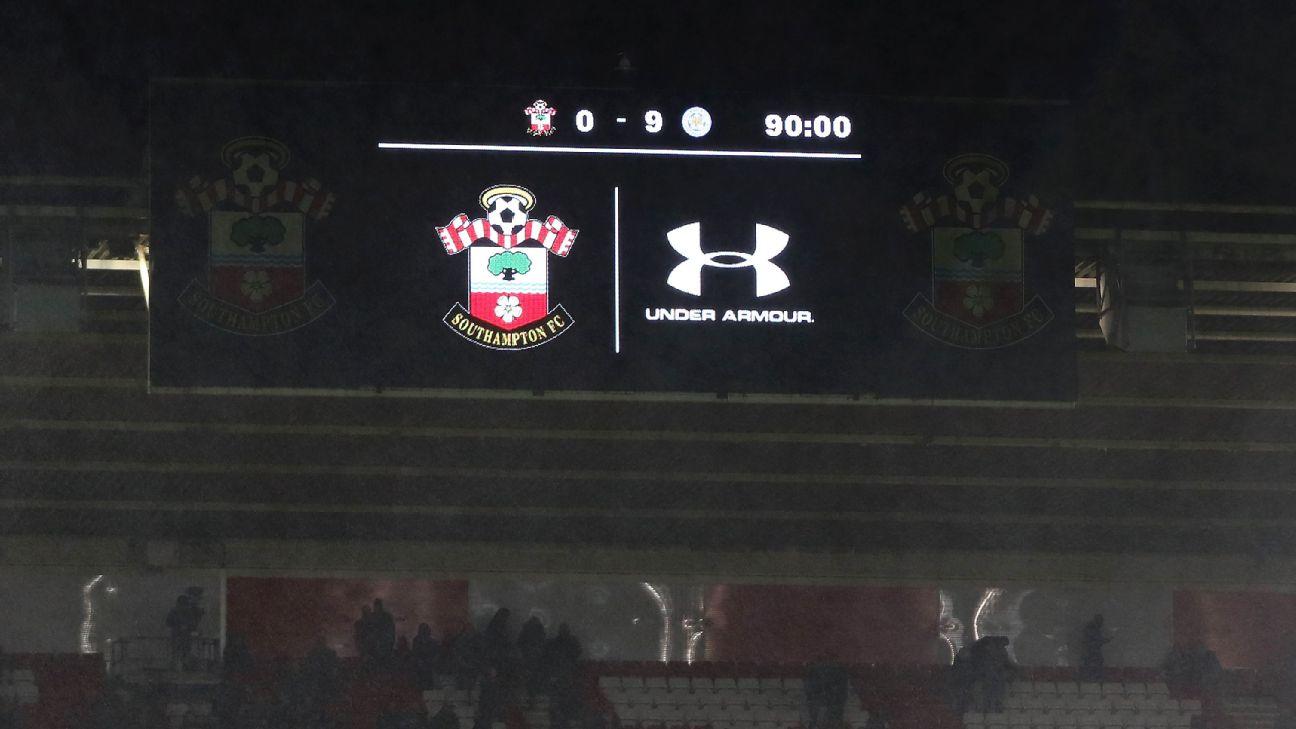 Leicester 9-0 scoreboard Southampton