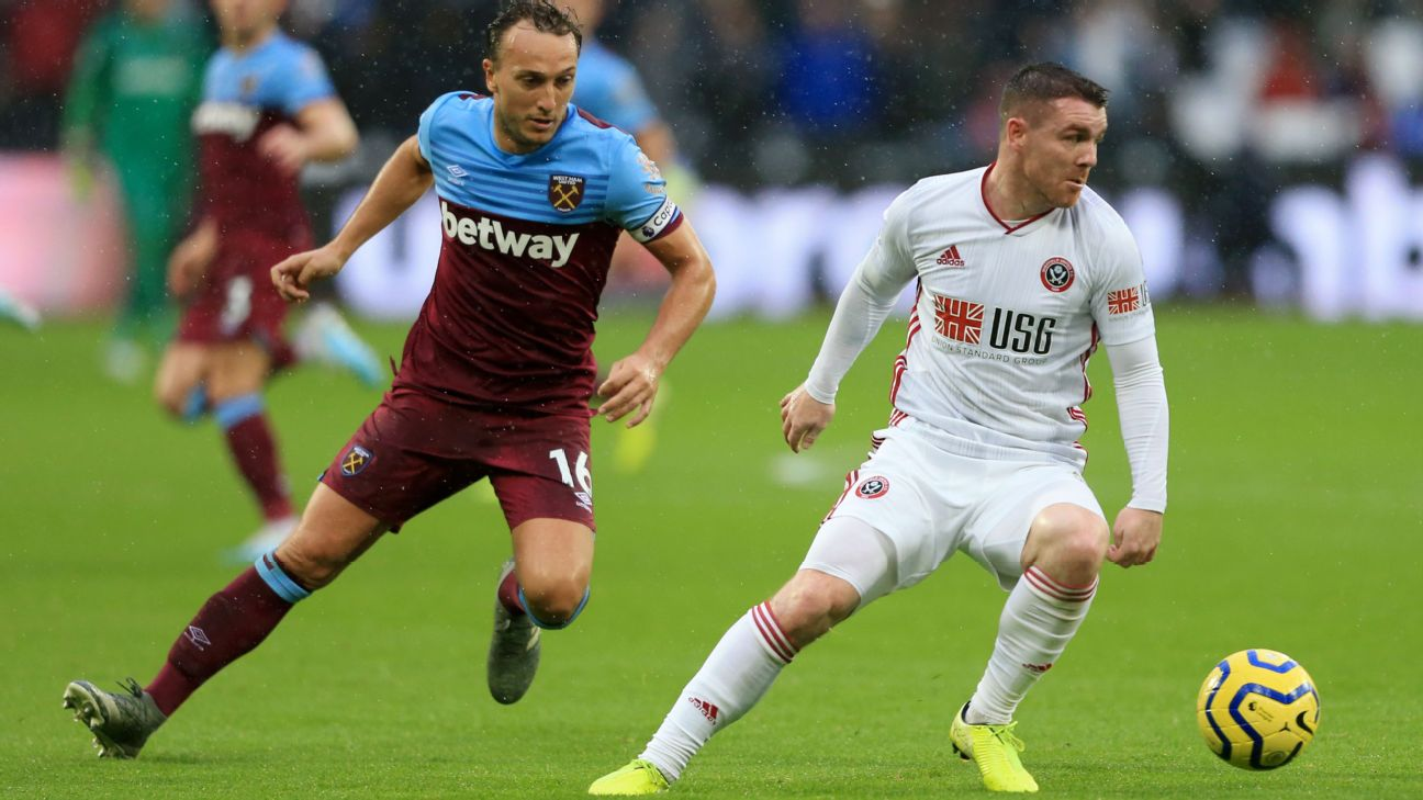 Sheffield United came from behind to earn a point at London Stadium on Saturday as West Ham's winless streak in all competitions was extended to five games.