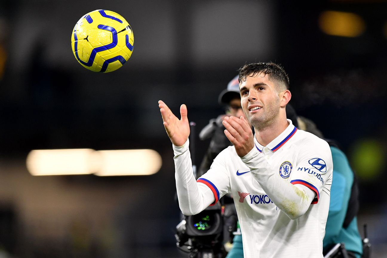 Chelsea's Christian Pulisic gets the matchball after scoring a hat trick in a win over Burnley.