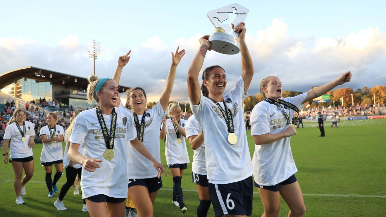 North Carolina Courage players paraded around with the NWSL championship trophy for the second straight year.