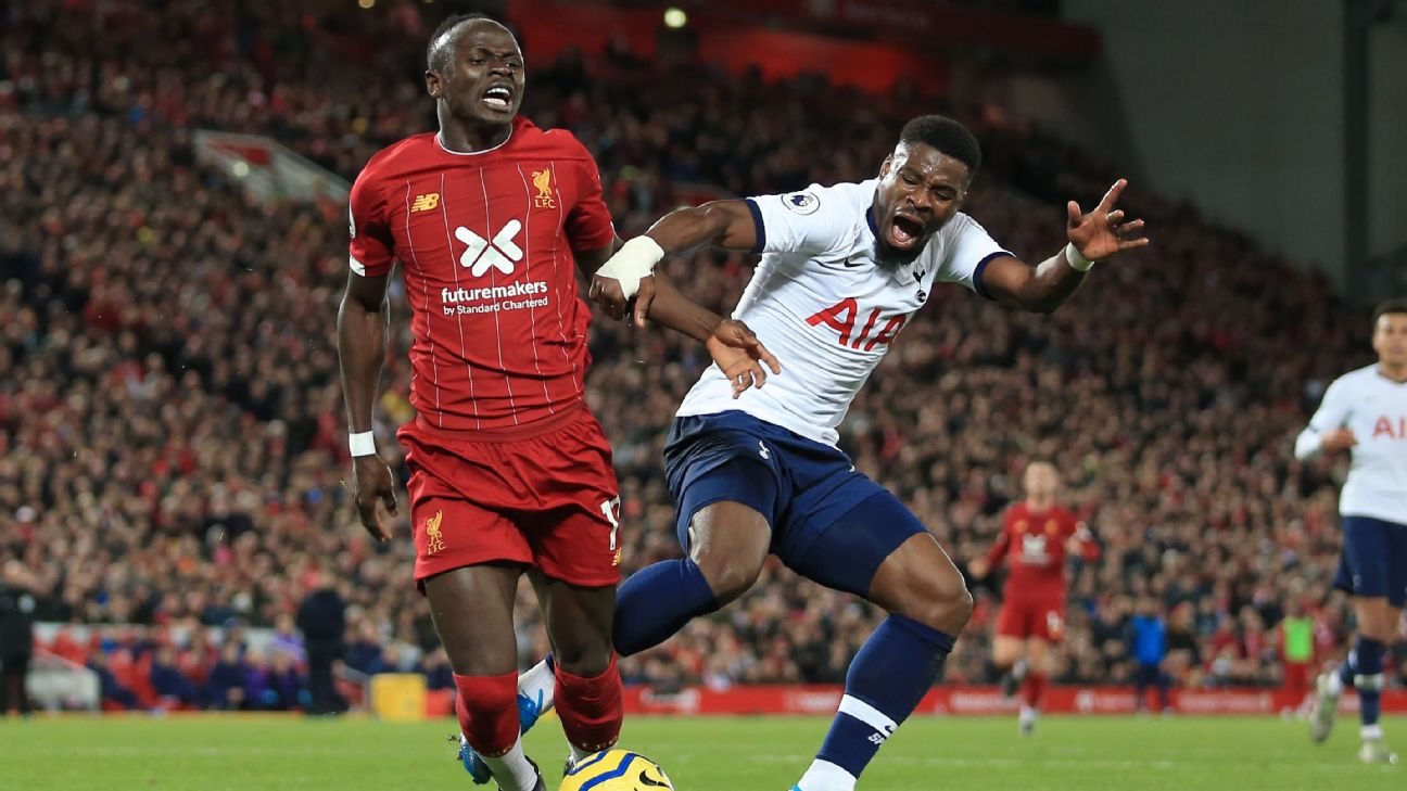 Sadio Mane is fouled during Liverpool's Premier League win over Tottenham.