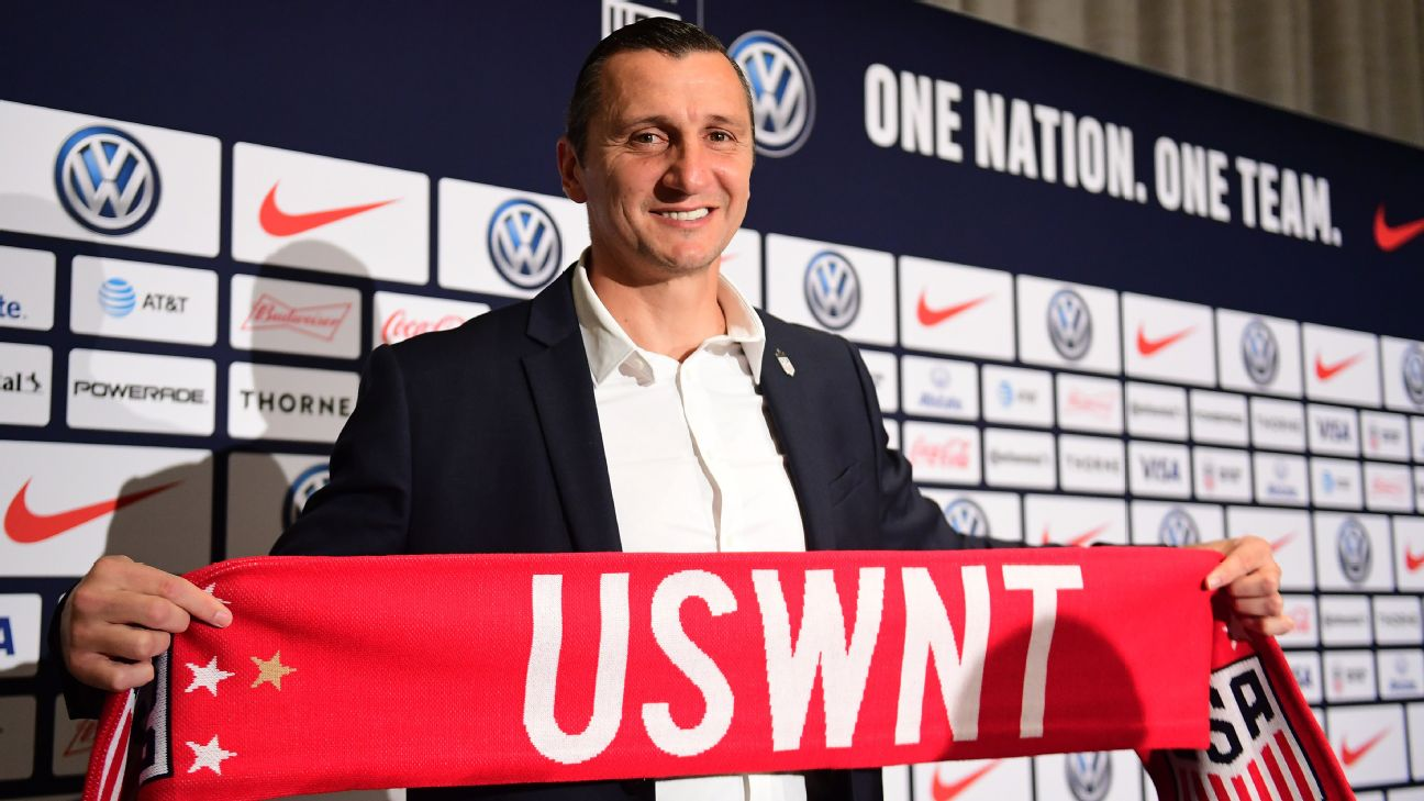 Vlatko Andonovski, coach of the NWSL's Reign FC, takes over as manager of the U.S. women's national team.