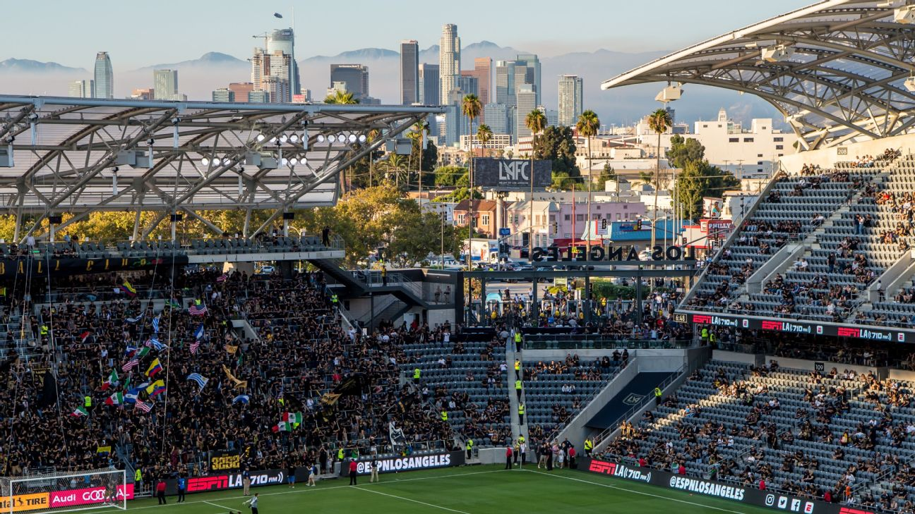 A wide view of LAFC's Banc of California Stadium with the Los Angeles skyline in the background.