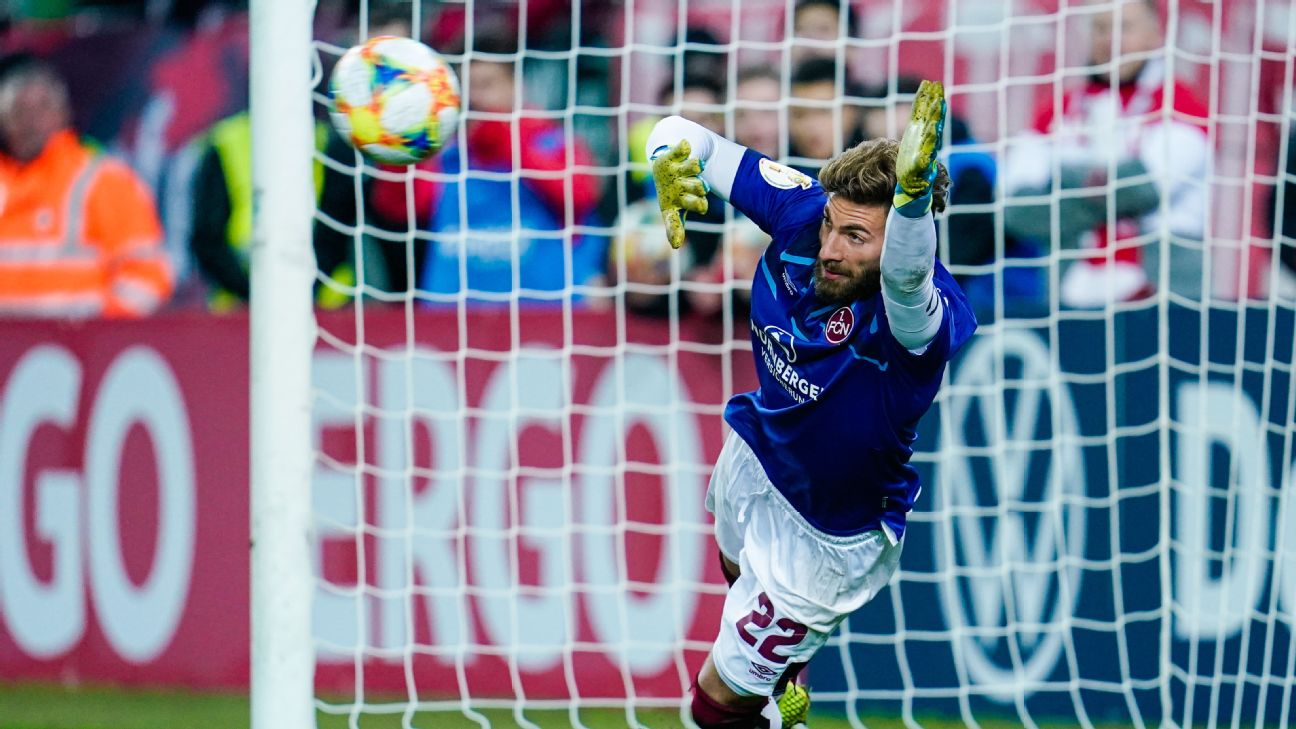 Nurnberg defender Enrico Valentini was forced to play goalie in his team's shootout loss to Kaiserslautern.