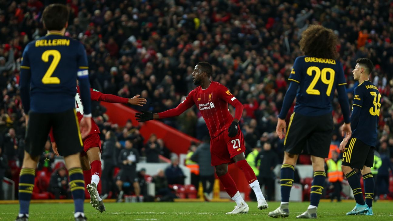 Divock Origi of Liverpool celebrates after scoring a goal