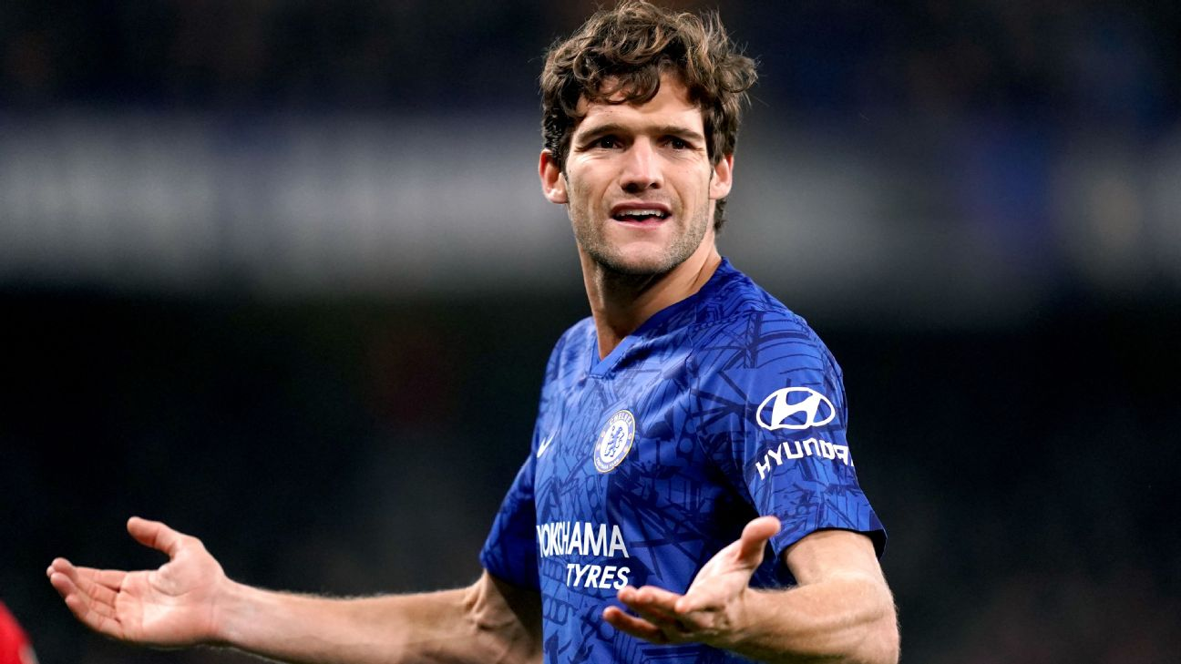 Marcos Alonso reacts during Chelsea's Carabao Cup defeat to Manchester United.