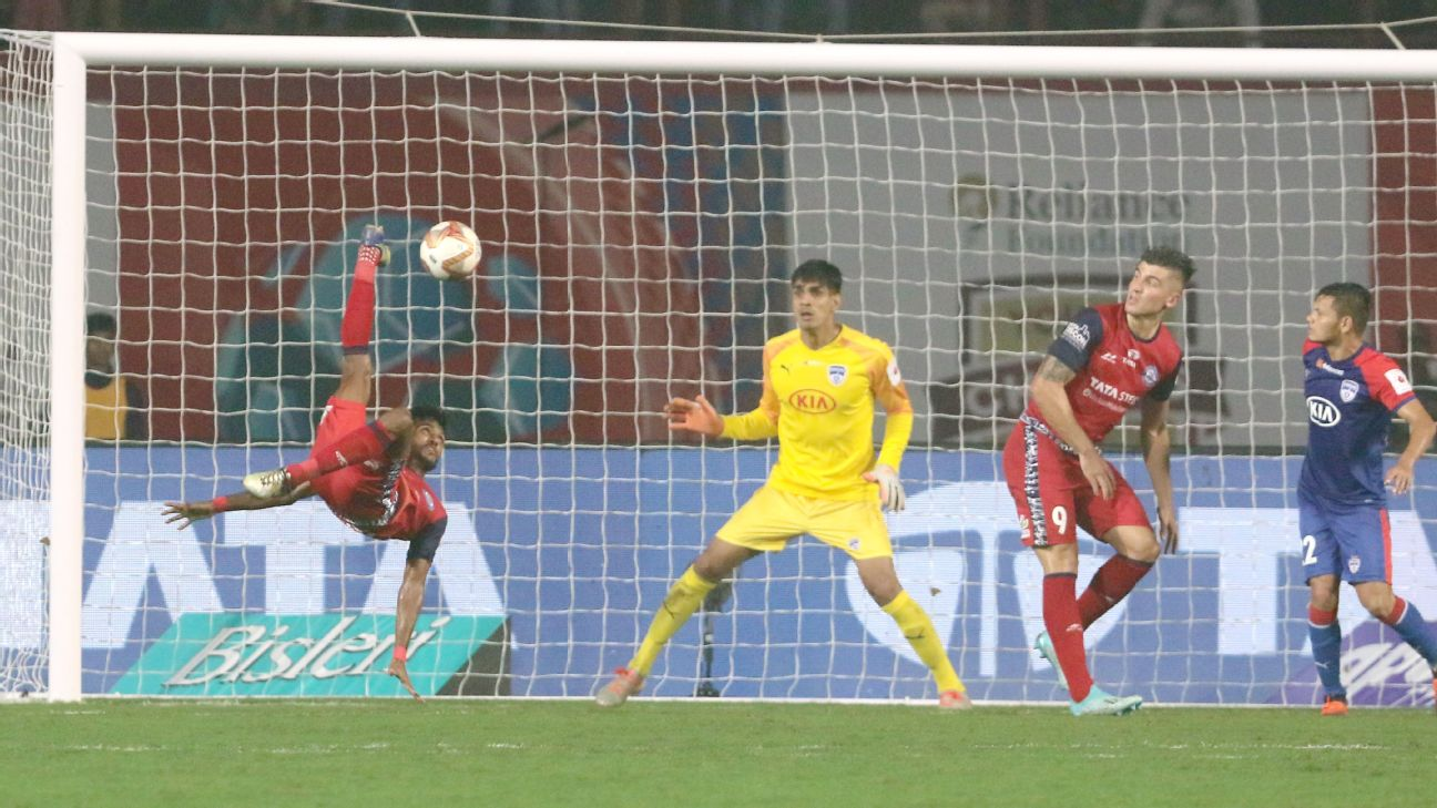 Farukh Choudhary attempts an audacious bicycle kick against Bengaluru FC.