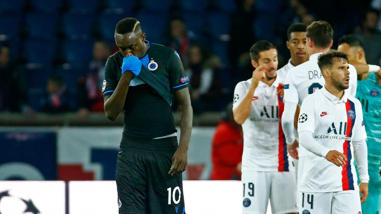 Mbaye Diagne reacts after missing a penalty for Club Brugge against PSG in the Champions League.