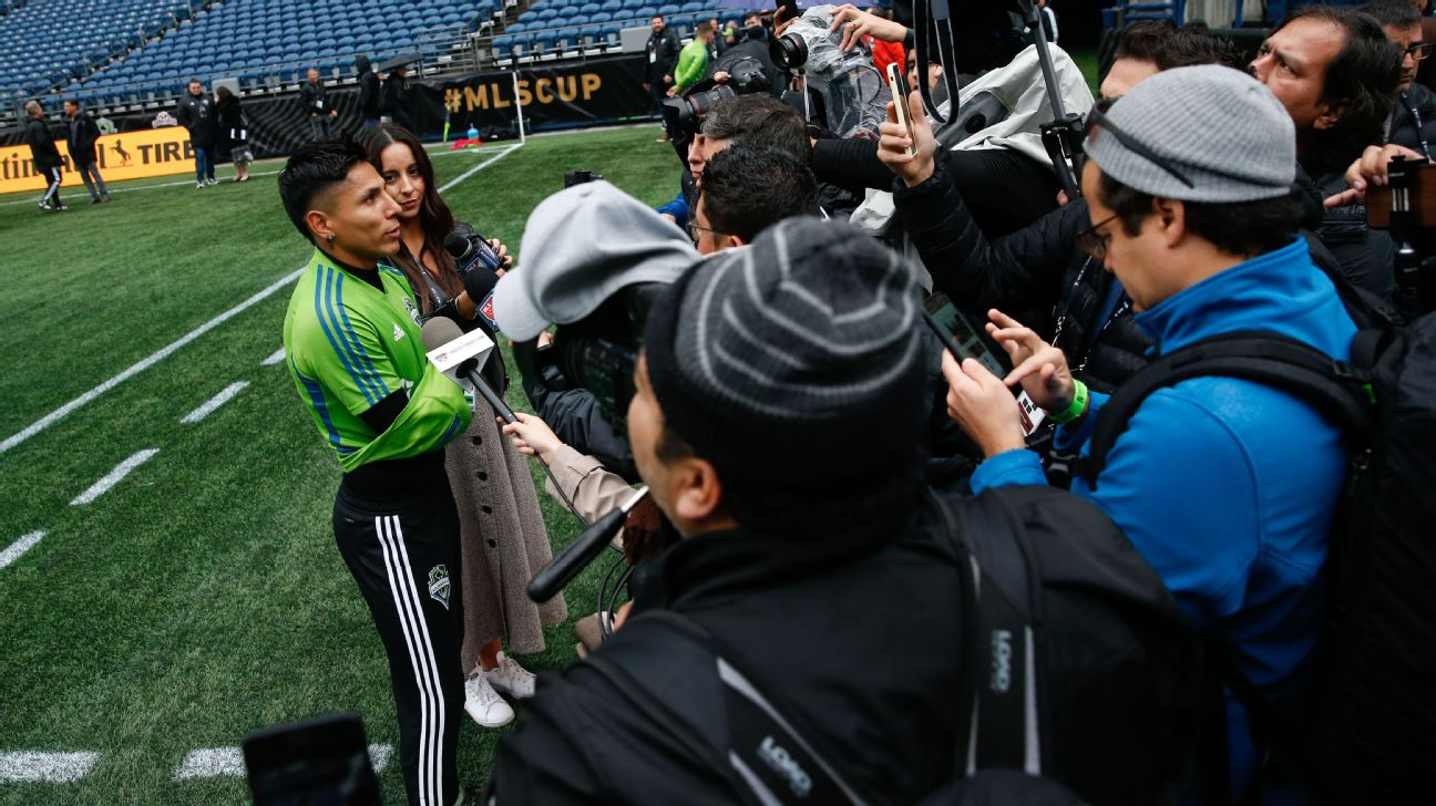 Seattle Sounders forward Raul Ruidiaz speaks with the media ahead of MLS Cup final.