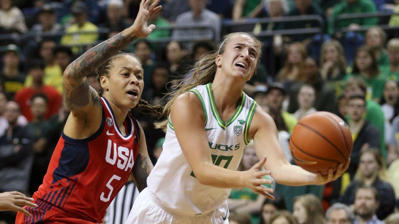 Sabrina Ionescu leads No. 1 Oregon to upset win over Team USA