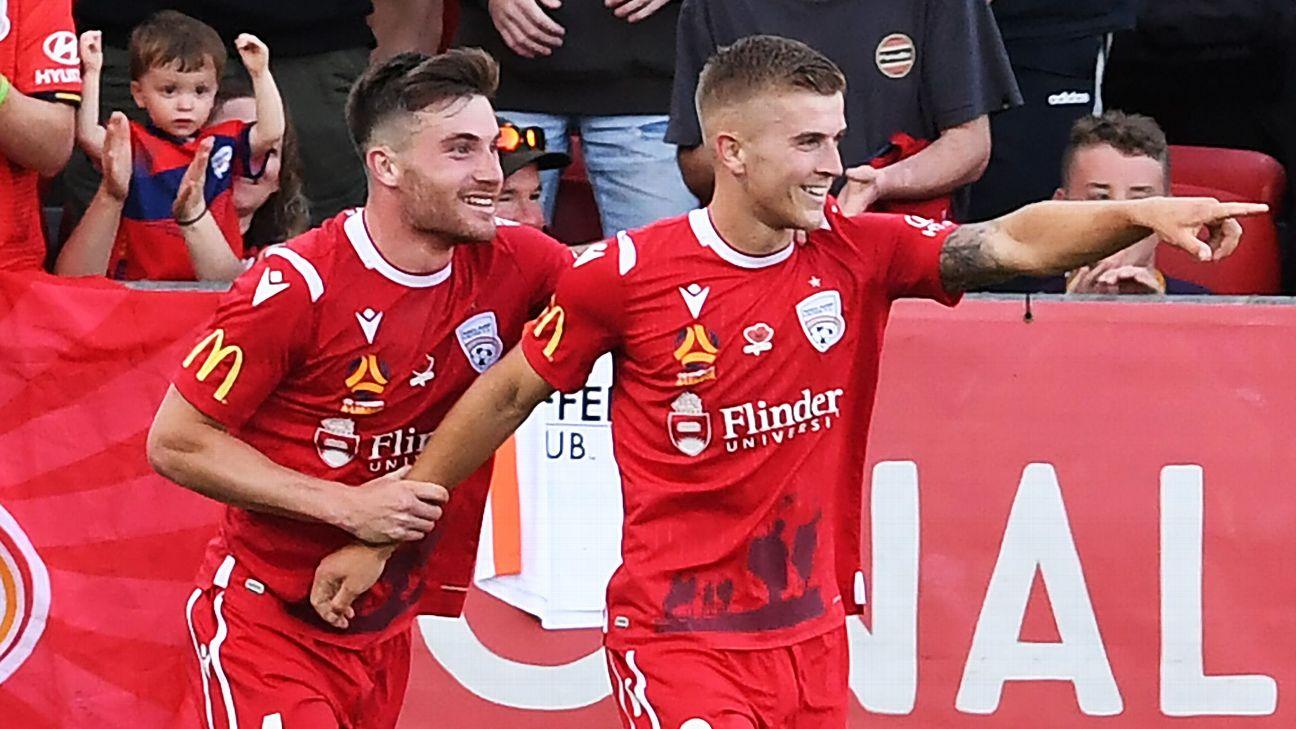 Riley McGree of Adelaide United celebrates