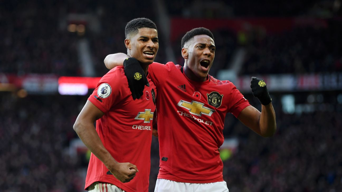 Marcus Rashford of Manchester United celebrates with teammate Anthony Martial after scoring
