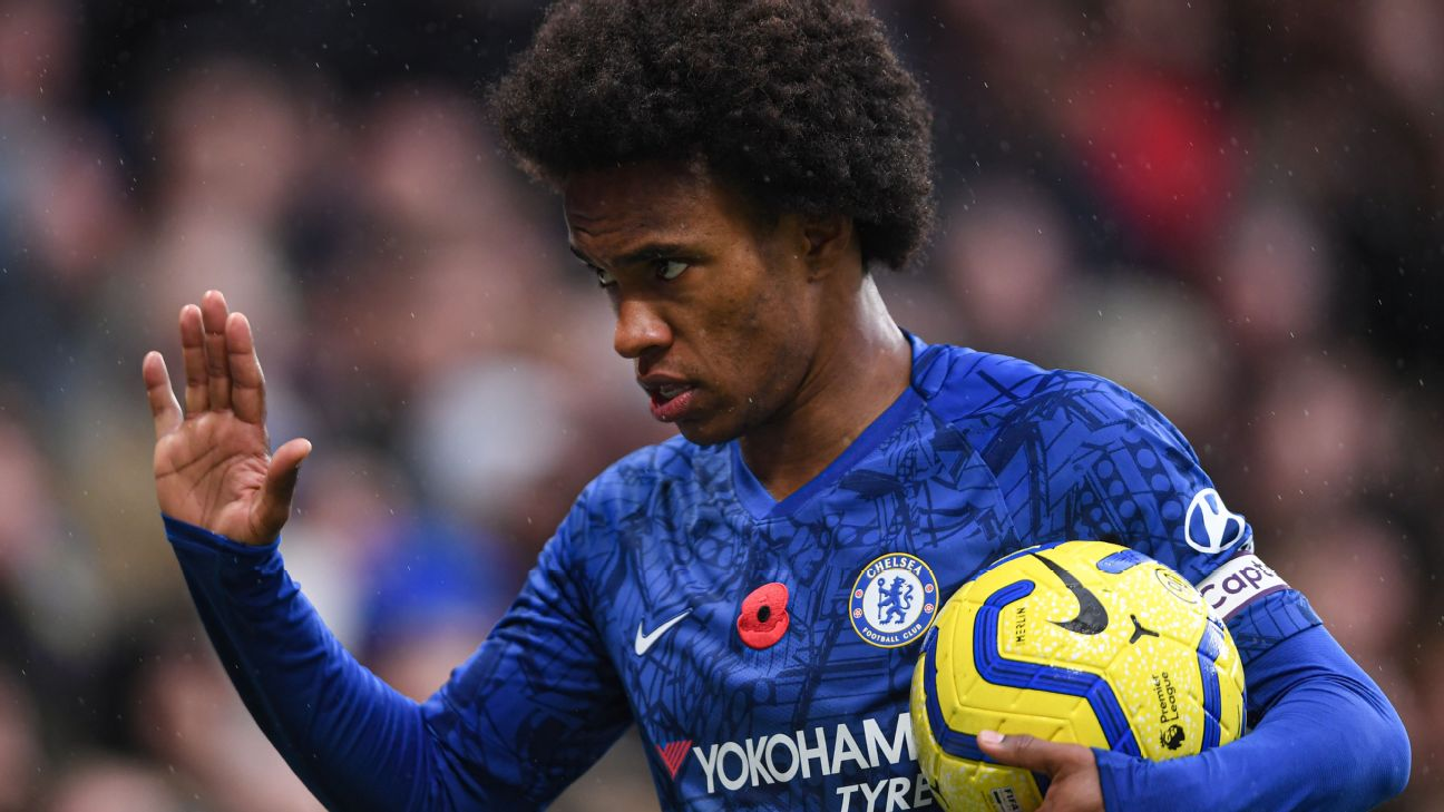 Willian looks on during Chelsea's Premier League match against Crystal Palace.