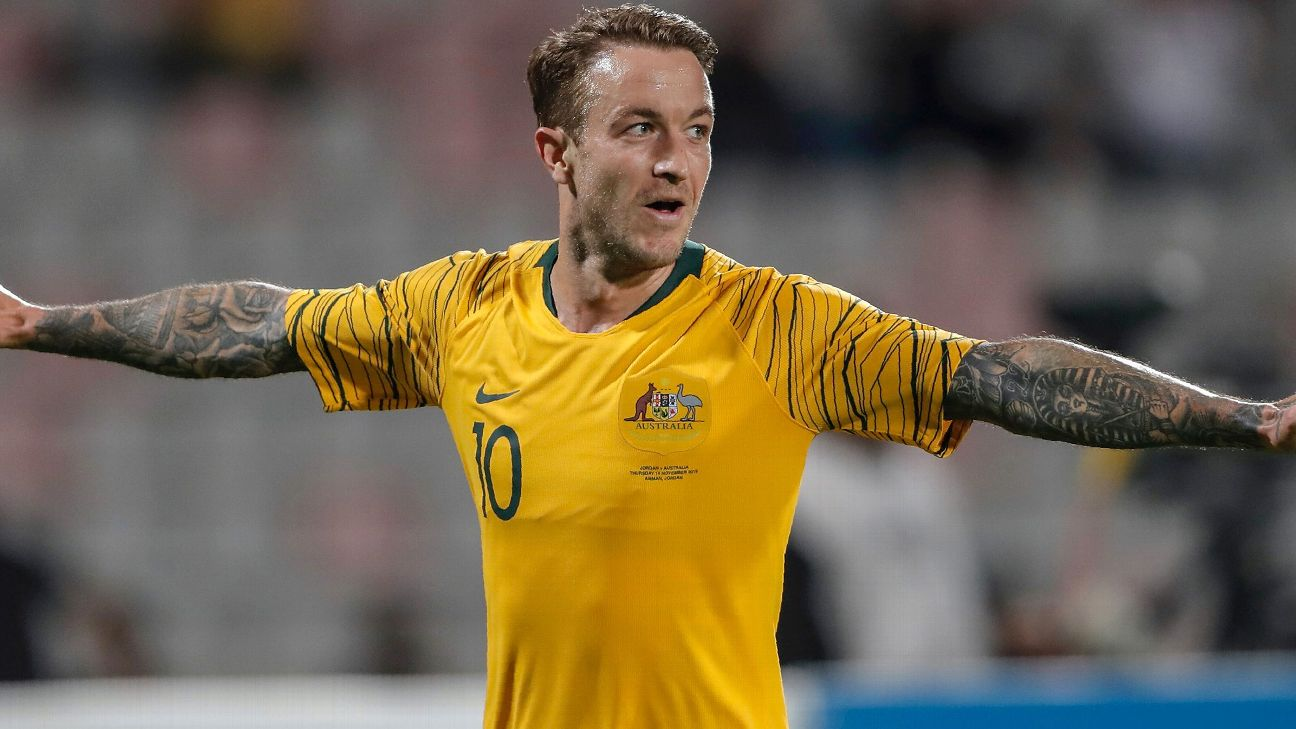 Adam Taggart celebrates after scoring in Australia's World Cup qualifier against Jordan.
