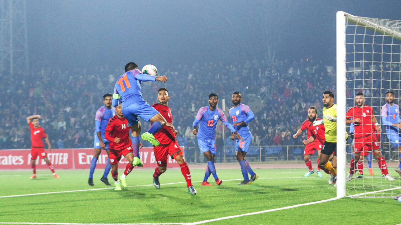 Sunil Chhetri misses an open goal in India's World Cup qualifier vs Afghanistan in Dushanbe.