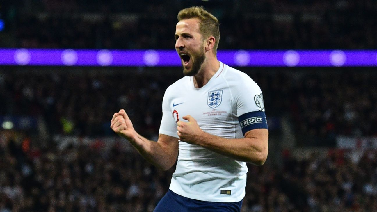Harry Kane celebrates after scoring in England's Euro 2020 qualifier against Montenegro.