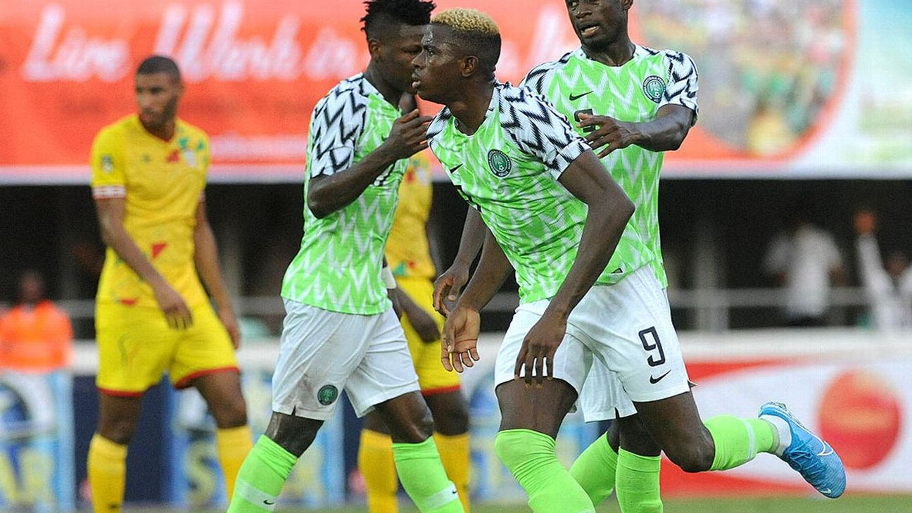 Victor Osimhen, pictured celebrating after scoring against Benin in Africa Cup of Nations qualifying, now has four goals in nine internationals for Nigeria,