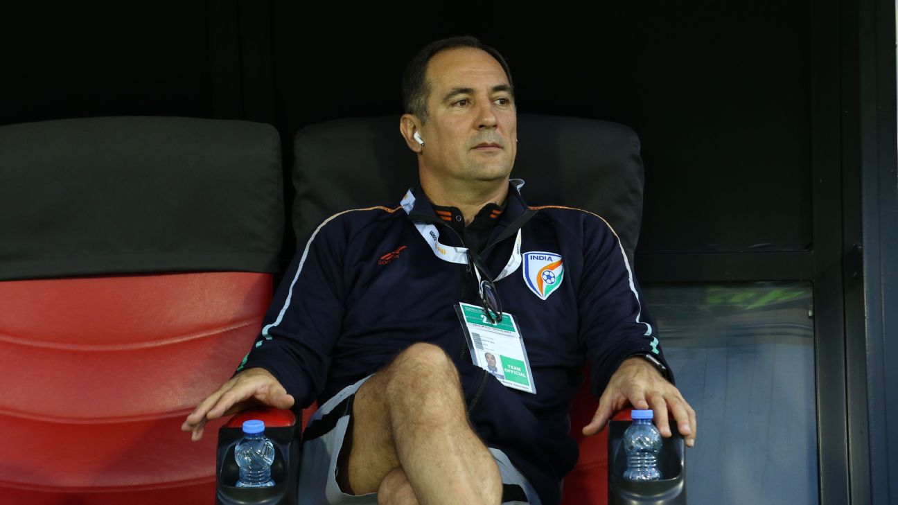Igor Stimac waits on the sidelines before the kick-off vs Oman.