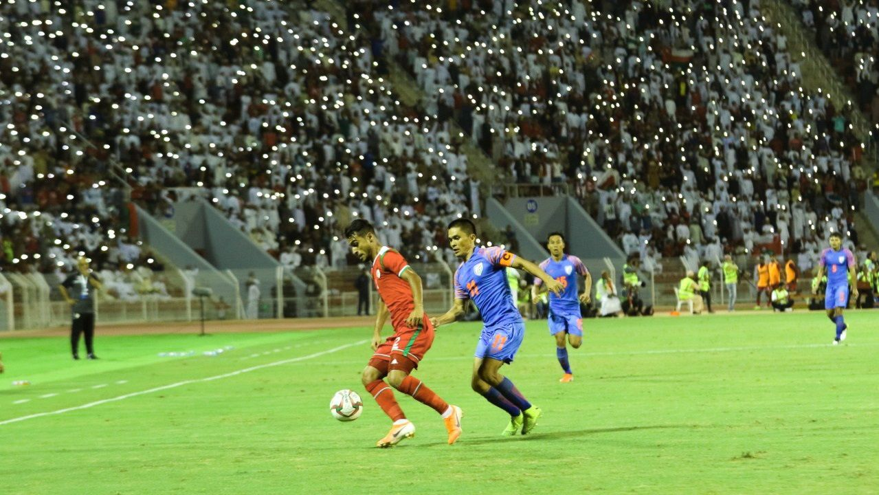 Sunil Chhetri in action against Oman.