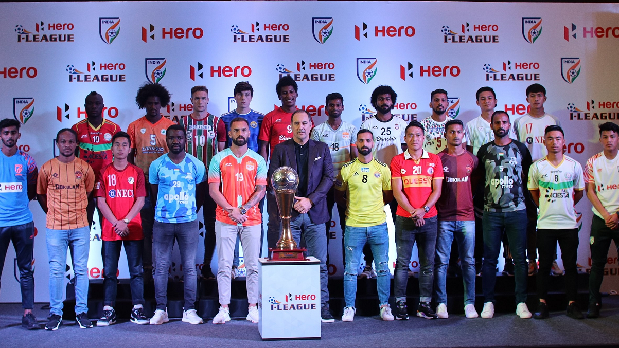 Players from all I-League clubs pose with Indian national team coach Igor Stimac (centre, front row) at the official launch of the 2019-20 season in New Delhi.