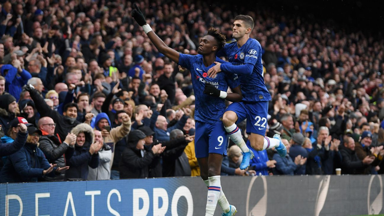 Tammy Abraham and Christian Pulisic celebrate during Chelsea's Premier League match against Crystal Palace.
