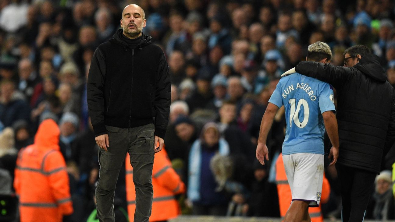 Man City coach Pep Guardiola shows his frustration after Sergio Aguero was forced out of their match against Chelsea with an injury.