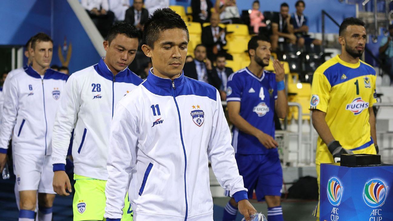 Bengaluru FC's Sunil Chhetri leads out his team-mates during the 2016 AFC Cup final against Air Force Club in Doha, Qatar.