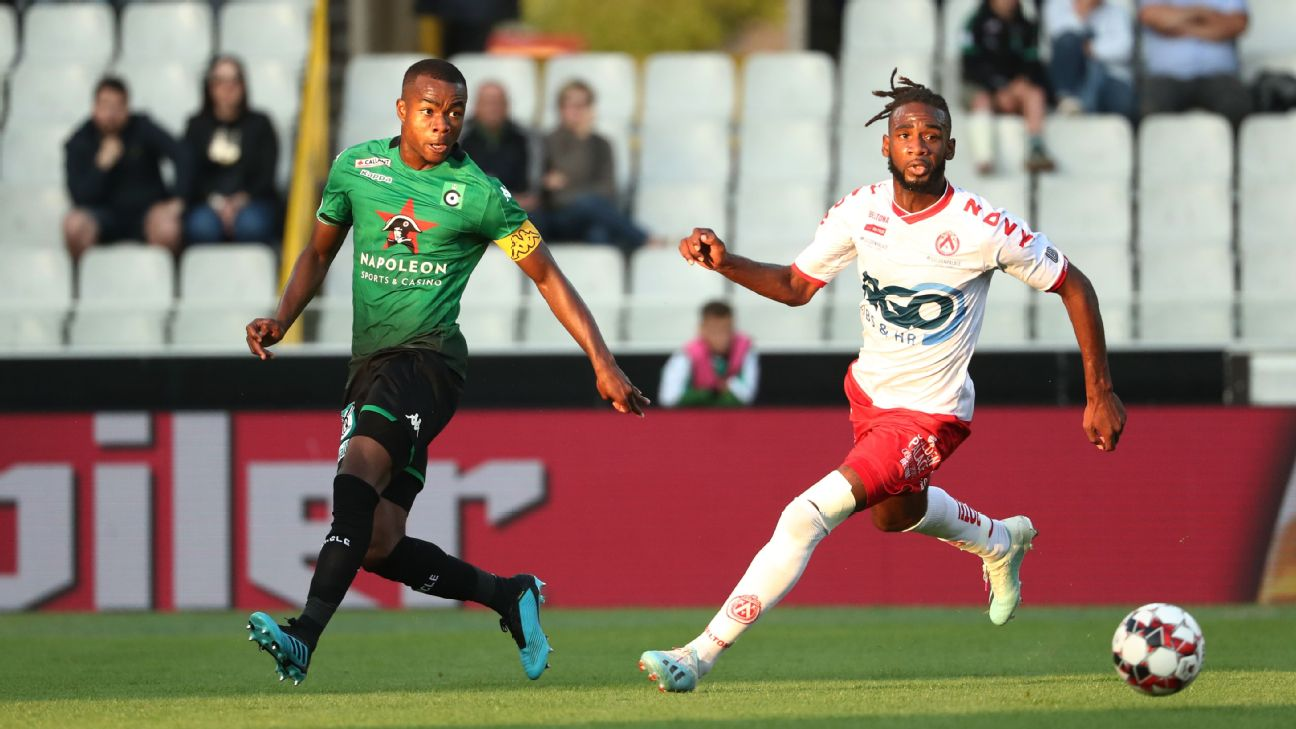 Kouadio-Yves Dabila, pictured playing for Cercle Brugge, has game-reading skills that belies his years.