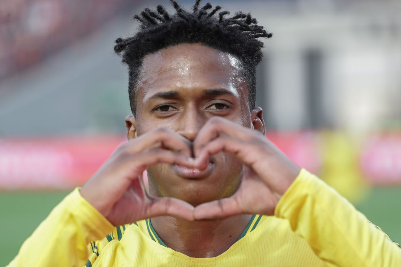 Luther Singh made a heart after scoring against Ghana in the U23 Afcon bronze medal match, which the South Africans needed to win, and did, to qualify for the 2020 Tokyo Olympics.