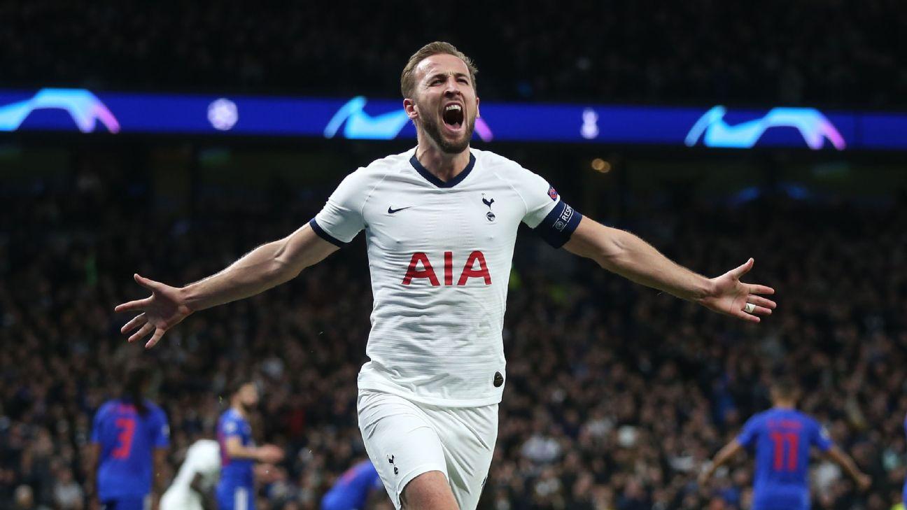 Harry Kane celebrates during Tottenham's Champions League win over Olympiakos.