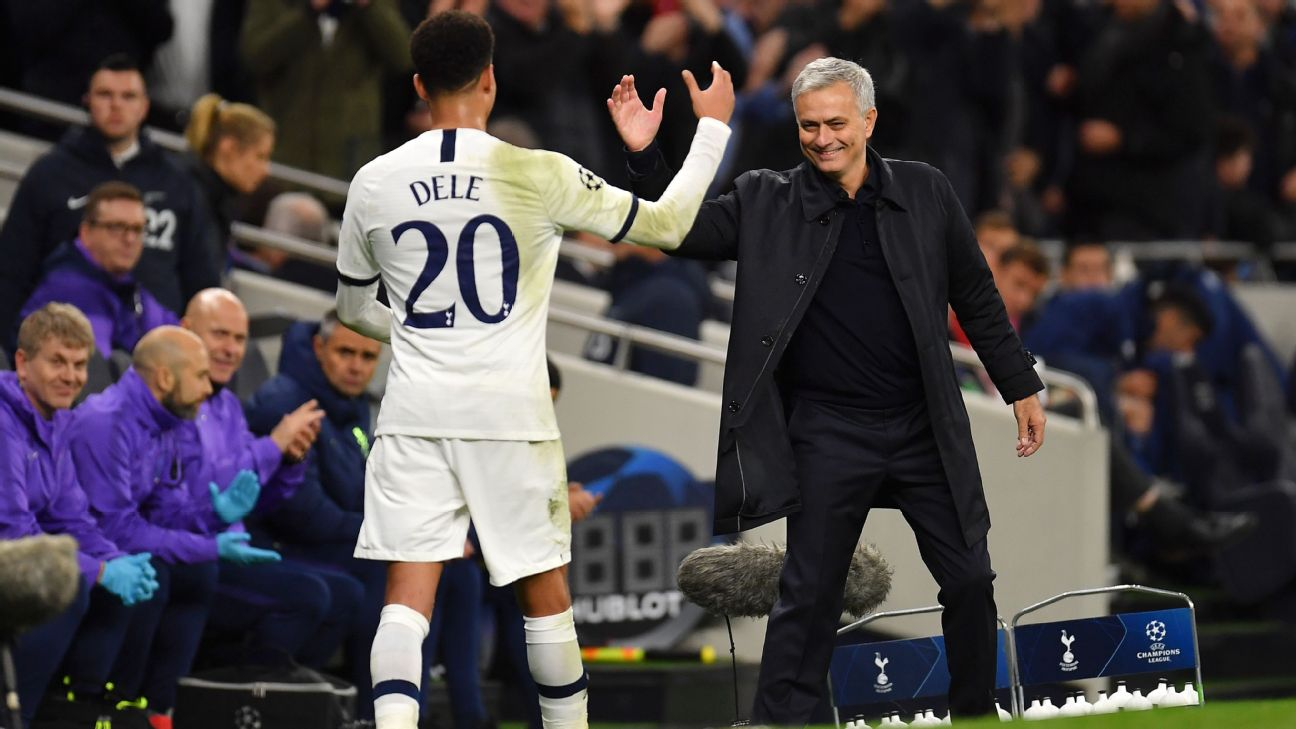 Dele Alli and Jose Mourinho shake hands during Tottenham's Champions League win over Olympiakos.