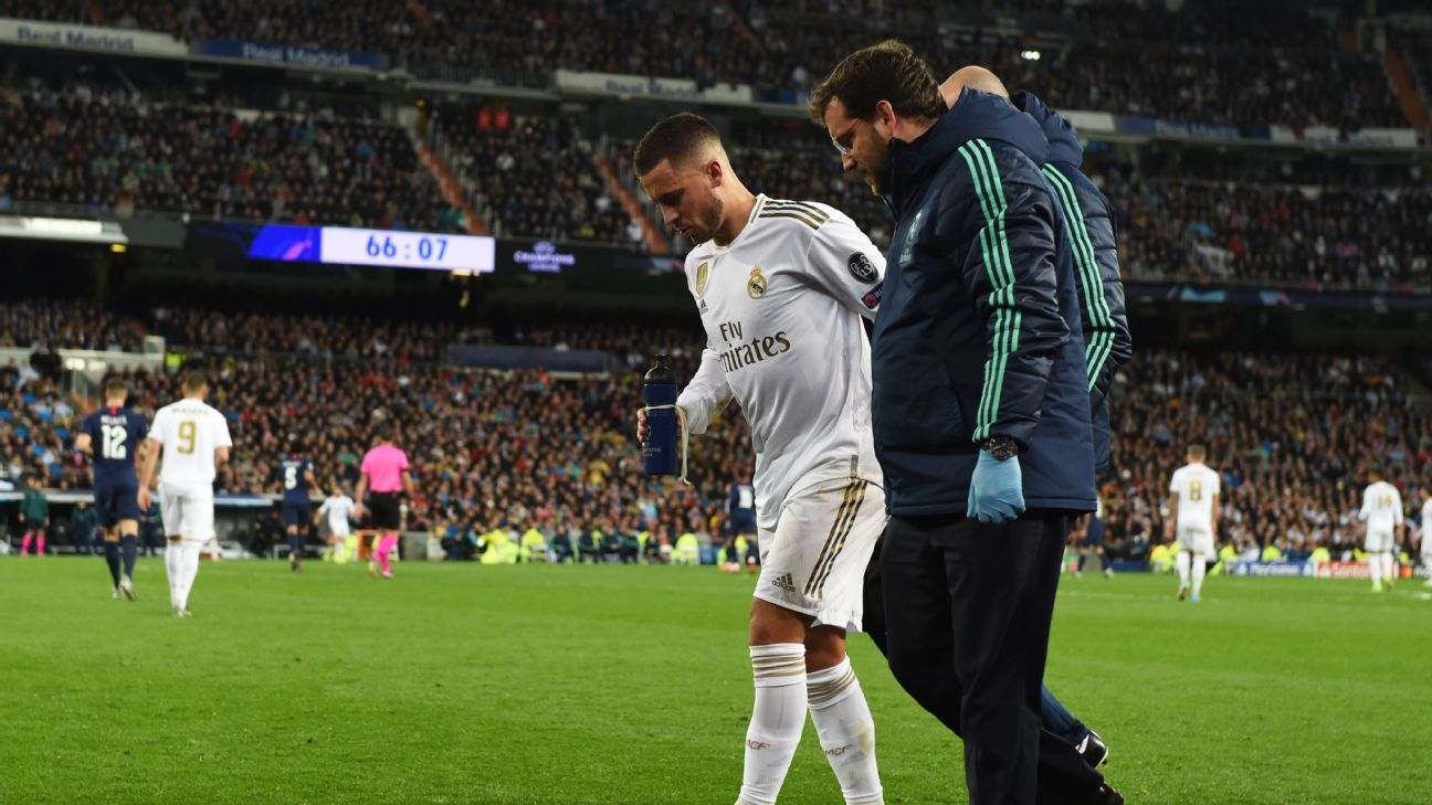 Eden Hazard limped off the Bernabeu pitch after a fine performance in Real Madrid's 2-2 draw with PSG in the Champions League on Tuesday.