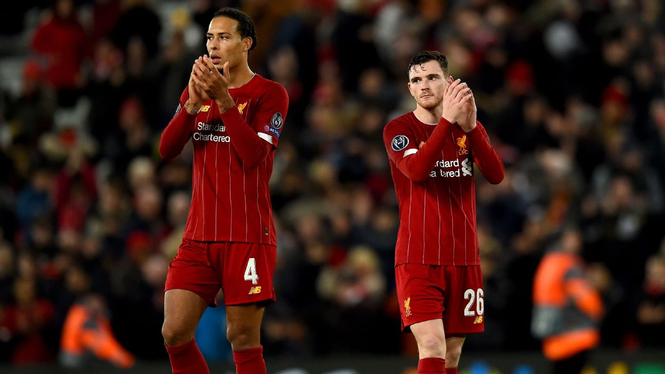 Virgil van Dijk and Andy Robertson walk off the pitch following Liverpool's Champions League draw against Napoli.