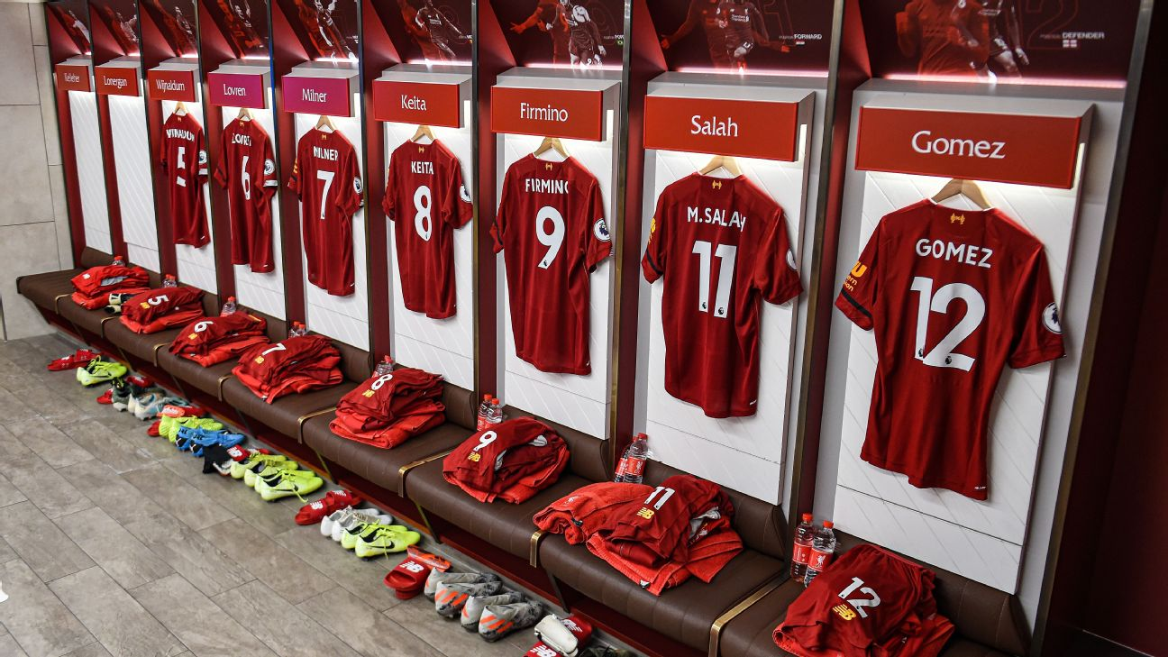 Liverpool's dressing room ahead of their Premier League match against Brighton.