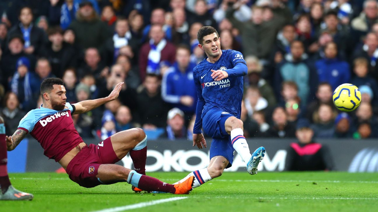Christian Pulisic shoots during Chelsea's Premier League match against West Ham.