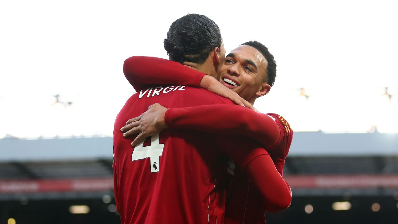 Virgil van Dijk and Trent Alexander-Arnold celebrate after connecting on a goal for Liverpool against Brighton.